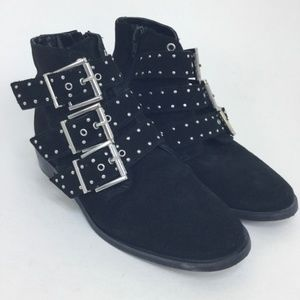 Topshop Suede Booties Buckles 6.5 Ankle Boots Punk